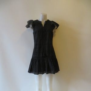 REBECCA MINKOFF EYELET RUFFLED SLEEVE HEM DRESS 4*